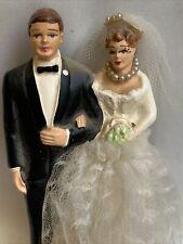 "Coast Novelty 1940s VTG Wedding Cake Topper Beaded Necklace Chalkware? 3.75"" #4E"