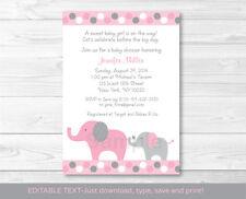 Pink and Gray Polka Dot Elephant Printable Baby Shower Invitation Editable PDF
