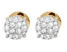 Ladies 10K Yellow Gold Real Diamond Pave Diamond Round Stud Earrings 0.40ct 6MM