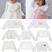 Girls Bolero Shrug Short Cardigan Long Sleeve Bridesmaid Wedding Bolero Coat