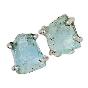 Aquamarine Rough 925 Sterling Silver Earring - Stud Jewelry ALLE-3010
