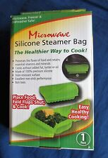 Microwave silicone steamer container bag to cook & reheat food New