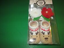 Christmas Fancy Headwrap and Booties by Little Me, Reindeer, 0-12 Months, NIB