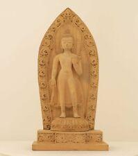 Buddha Maitreya STATUA PERSONAGGIO LEGNO INTAGLIO LEGNO Nepal Buddismo pezzo unico