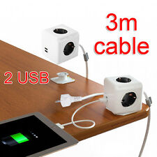 Extended Power Cube Socket Strip DE Plug 4 Outlet 2 USB Charger Adapter Charger