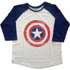 CAPTAIN AMERICA DISTRESS SHIELDS Marvel Comic Unisex Raglan T Shirts (MEDIUM)