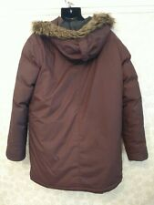 Peak Performance brown Parka feather down hooded coat / jacket Large. G30989001
