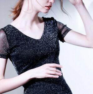 Womens Glitter Short Sleeve V-Neck Tops Designer Thin Shirt Blouse US M=CN XL