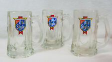 Old Style Heileman's Vintage Thick Glass Handled Beer Mugs Graphics Handle Lot 3