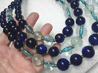 Coldwater creek cobalt blue moon glow beaded necklace, gemstones, rhinestones