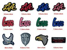 Life Love Live to ride biker fun badges Iron on Sew on Embroidered Patch