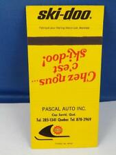 SKI-DOO SKI DOO SNOWMOBILE DEALER PASCAL AUTO CAP SAINT MATCHBOOK OLD  BOMBADIER