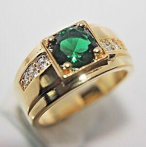 Wunderschöner Herren Damen Ring Gold 18K GP vergoldet Smaragd grün Gr 65 Ø20,6mm