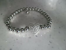SILVER  ALLOY BEADED   BANGLE .WITH HEART .....BRAND NEW