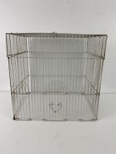 Vintage Old Wire Metal Art Deco Bird White Cage Cottage Garden Decor No Bottom