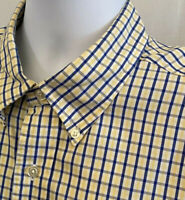Brooks Brothers 346 Men's Button Down Up Front Yellow Blue Logo Shirt Size XL