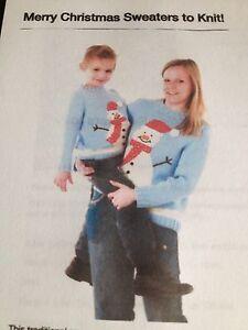Christmas Snowman & Robin  Large Adult Jumper Knitting Pattern
