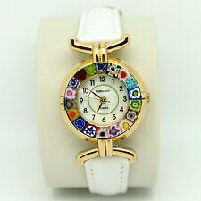 Murano Glass Quartz Watch from Venice with Millefiori and White Strap