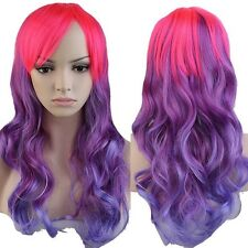 Women Long Cosplay Hair Wig Anime Party Costume Curly Straight Wig Pink Purple W