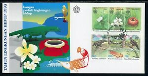 Indonesia Scott #1543-1544 FIRST DAY COVER Environmental Protect. FLORA FAUNA $$