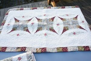 Vintage Pair Quilted & Embroidered King Size Pillow Shams