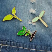 Green Leaves Plant Tree Lapel Pins Enamel Brooch Collar Gift Jewelry Badge S