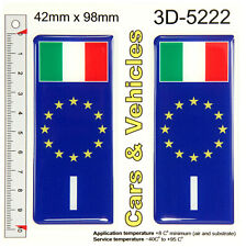 2x ITALY Italia Flag ES euro stars Blue Domed Number Plate Stickers Badge Decals