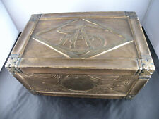 Antique vintage Art Deco wooden jewelry trinket box carved and gilded dated 1925