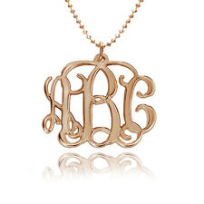 Monogram Necklace Personalized in 18kt Rose Gold (USA Seller)