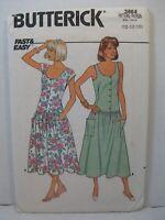 Butterick Sewing Pattern 3864 Misses Dropped Waist Dress Size 12-14-16 Cut Vtg