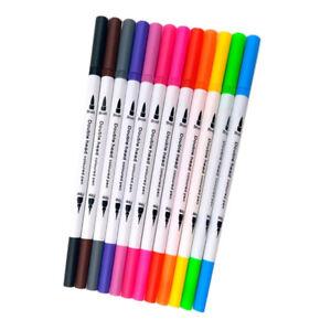 12 Colori Pennarelli A Punta Doppia Pennello In Plastica Fine Che Rende La Penna