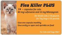 Flea Killer PLUS Meds for Cats 2-10 lbs. 24 Orange Capsules ~ Full 2 Year Supply