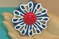 Vintage Red White & Blue Big Metal Flower Pin Brooch