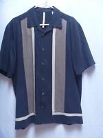 Axis Men's Classy Short Sleeve Shirt Large (L) BLACK / Tan 100% Silk