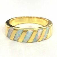 Classic Fire Australian Opal Band Ring Women Gift Jewelry 14K Yellow Gold