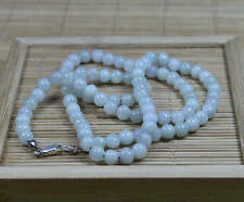 NATURE GRADE A LIGHT GREEN 5MM JADE BEADS JADEITE NECKLACE 20INCH silver clasp