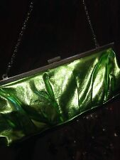 Vintage Style Green Metallic Handbag Purse Evening Bag