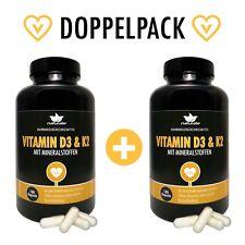 Vitamin D3 und K2 MK7, HOCHDOSIERT, vegan mit Mineralstoffen, DOPPELPACK