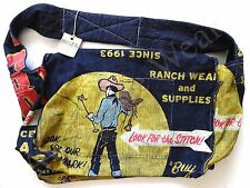 New Ralph Lauren RRL Western Graffiti Navy Canvas Oversized Messenger Bag