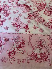 Vtg 40s50s Hand Sewn Knotted Baby Girl Quilt Coverlet Blanket Pinks White 35x42�