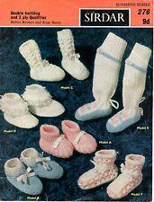 Sirdar Sunshine 276 Vintage Baby Knitting Pattern Bootees Socks 3 ply 0-3 months