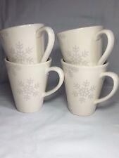 Set (4) NAUTICA ARTIC White Silver Grey Snowflake Coffee Tea Cappuccino Cup Mug