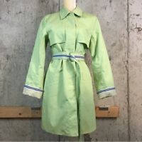 Dennis Basso Womens S Jacket Green Water Repellent Belt Pockets Lined Raincoat
