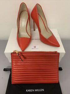 Karen Millen Red Leather Pleated High Court Shoes + Bag UK3.5 Eur36 Boxed #3403