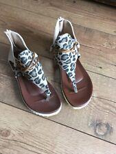 Woman's Animal Print Toe Post Gladiator Sandals Size 5