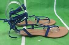 Summer Blue Womens Shoes Tie Up Sexy Sandals Size 5.5