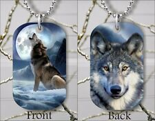 WOLF PACK LEADER DOG TAG PENDANT NECKLACE FREE CHAIN -aty5Z