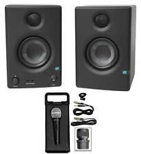 """Pair Presonus Eris E3.5 3.5"""" Powered Studio Monitor Speakers+Microphone+Case"""