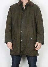 "BARBOUR Border Wax Jacket Chest 42"" Medium Large Green (4CJ)"