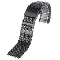 20/22/24mm Black/Silver Stainless Steel Shark Mesh Watch Band Bracelet Strap